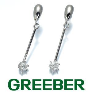 一粒ダイヤ ダイヤモンド ピアス K18WG GENJ|greeber01