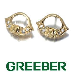 ダイヤ ダイヤモンド アイコン ピアス K18YG GENJ|greeber01