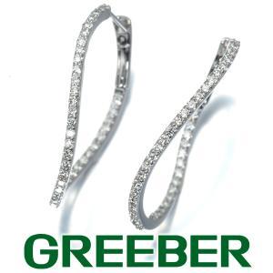上質ダイヤ ダイヤモンド 0.38ct/0.38ct オーバル フープ ピアス K18WG GENJ|greeber01