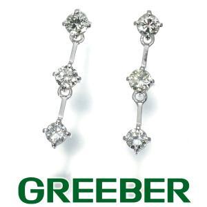 3石連なる ダイヤ ダイヤモンド 0.78ct ピアス Pt900/プラチナ/K18WG GENJ|greeber01