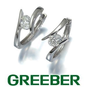オーバルカットダイヤ ダイヤモンド 0.244ct/0.247ct フープ ピアス Pt900/プラチナ GENJ|greeber01