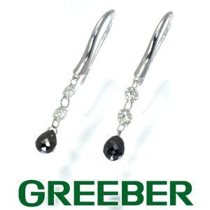 ブラック&クリアダイヤ ダイヤモンド 0.9ct/0.4ct ブリオレットカット フック ピアス K18WG GENJ|greeber01