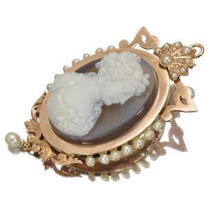 アンティークカメオ パール 真珠 ブローチ  GENJ  超大幅値下げ品|greeber01
