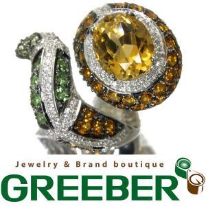 シトリン 6.30ct ペリドット ダイヤ ダイヤモンド 0.45ct 蛇 スネーク リング 指輪 K18WG GENJ|greeber01