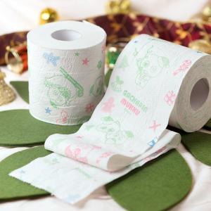 【クリスマス限定】トイレットペーパー ガチャピン・ムックプリントロール イチゴケーキの香り(96ロール)3枚重ね お子様のトイレトレーニングにも最適|green-consumer-shop|02