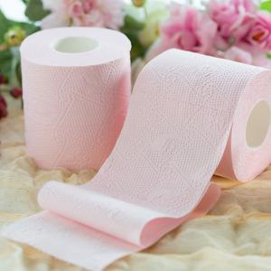 【送料無料】《Hanataba》ピンクカラートイレットロール 12ロール 3枚重ね パルプ100% 優しいピンク色 吸水性抜群 シャワートイレに最適|green-consumer-shop|02