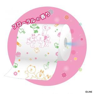 【送料無料】LINE FRIENDS トイレットペーパー パルプ100% 2枚重ね 96ロール(12ロール×8パック)  トイレットロール フローラルの香り|green-consumer-shop|02