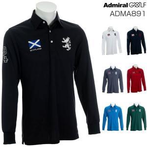 アドミラルゴルフ メンズウェア フラッグ 長袖ポロシャツ ADMA891 2018年秋冬モデル M-XL