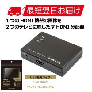 メーカー直販 HDMIスプリッター GH-HSPE2-BK ブラック HDMI分配器 1入力 2出力 4K2K(2160p30fps)対応 グリーンハウス greenhouse-store