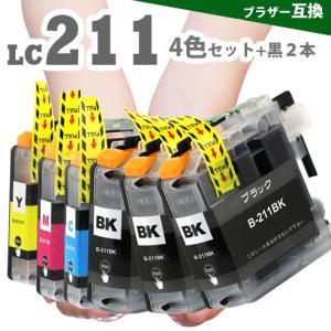 プリンターインク LC211-4PK + LC211BKx2 4色セット + ブラックx2個  ブラザー LC211 互換インク|greenlabel
