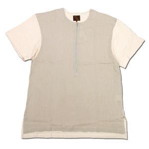 Phatee (ファッティー) FRONT ZIP TEE ジップアップ Tシャツ / BEIGE x BEIGE|greenplanet