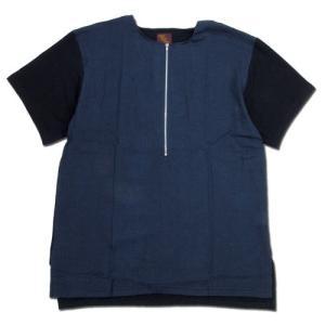 Phatee (ファッティー) FRONT ZIP TEE ジップアップ Tシャツ / NAVY x BLACK|greenplanet