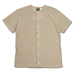 Phatee (ファッティー) SNAP TEE PILE コットンパイル フロントオープン Tシャツ / SAND|greenplanet