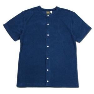 Phatee (ファッティー) SNAP TEE PILE コットンパイル フロントオープン Tシャツ / BLUE|greenplanet