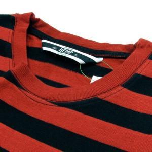 Phatee (ファッティー) BO S/S TEE ヘンプコットン ボーダー ショートスリーブ Tシャツ / RED BORDER|greenplanet|03