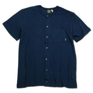 Phatee (ファッティー) SNAP TEE ヘンプコットン ノーカラー Tシャツ / NAVY|greenplanet