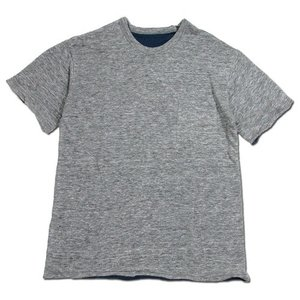 Phatee (ファッティー) W FACE S/S TEE リネン ヘンプコットン リバーシブル Tシャツ / CHARCOAL x NAVY|greenplanet