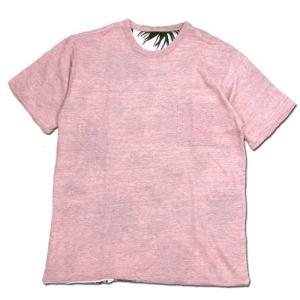 Phatee (ファッティー) W FACE S/S TEE リネン ヘンプコットン リバーシブル Tシャツ / PINK x TILLANDIA|greenplanet