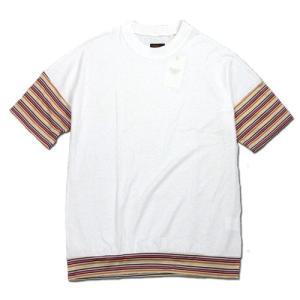 Phatee (ファッティー) WIDE BEAR TEE ヘンプコットン ビッグシルエット Tシャツ / WHITE x ORANGE BORDER|greenplanet