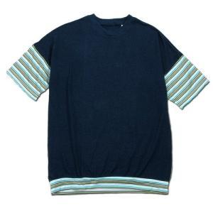 Phatee (ファッティー) WIDE BEAR TEE ヘンプコットン ビッグシルエット Tシャツ / NAVY x GREEN BORDER|greenplanet