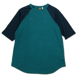 Phatee (ファッティー) LOOSE BALL TEE ヘンプコットン ビッグシルエット ラグラン 7分袖 Tシャツ / FOREST x NAVY|greenplanet