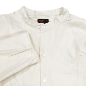 Phatee (ファッティー) KAIKO SHIRTS BC コットンネル ロングスリーブ バンドカラーシャツ / IVORY|greenplanet|02