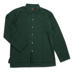 Phatee (ファッティー) CAMP COLLAR SHIRTS コットンネル ロングスリーブ キャンプカラーシャツ / DEEP GREEN greenplanet