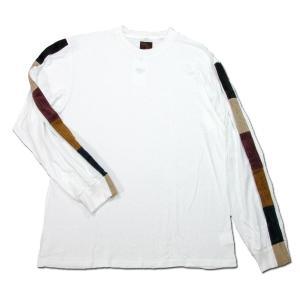 Phatee (ファッティー) LINE PATCH L/S TEE ヘンプコットン ロングスリーブ Tシャツ / WHITE|greenplanet