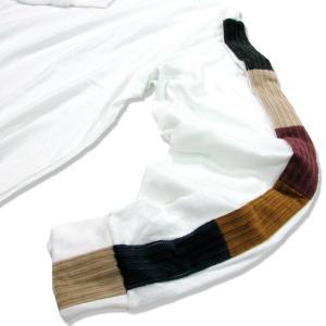 Phatee (ファッティー) LINE PATCH L/S TEE ヘンプコットン ロングスリーブ Tシャツ / WHITE|greenplanet|03