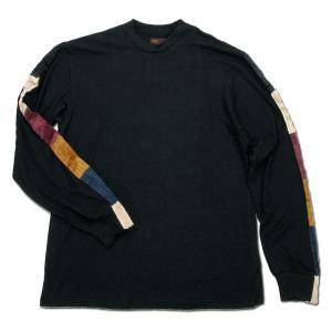 Phatee (ファッティー) LINE PATCH L/S TEE ヘンプコットン ロングスリーブ Tシャツ / BLACK|greenplanet