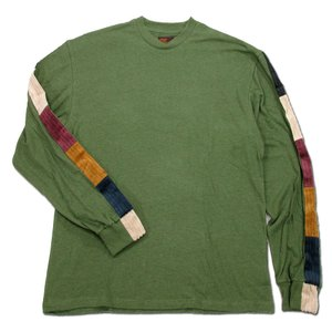 Phatee (ファッティー) LINE PATCH L/S TEE ヘンプコットン ロングスリーブ Tシャツ / OLIVE|greenplanet