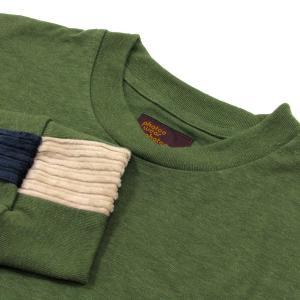 Phatee (ファッティー) LINE PATCH L/S TEE ヘンプコットン ロングスリーブ Tシャツ / OLIVE|greenplanet|02