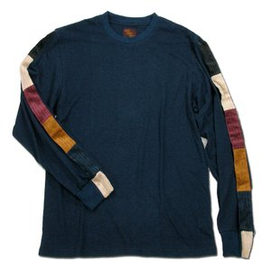 Phatee (ファッティー) LINE PATCH L/S TEE ヘンプコットン ロングスリーブ Tシャツ / NAVY|greenplanet