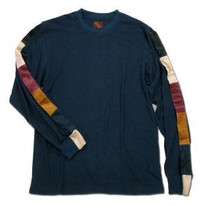 Phatee (ファッティー) LINE PATCH L/S TEE ヘンプコットン ロングスリーブ Tシャツ / NAVY|greenplanet