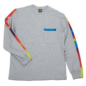 Phatee (ファッティー) TIEDYE LINE L/S TEE ロングスリーブ Tシャツ タイダイ / HEATHER GRAY|greenplanet