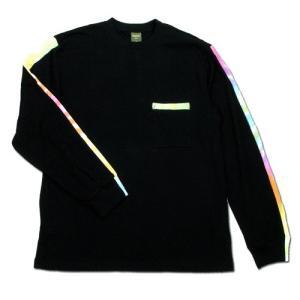 Phatee (ファッティー) TIEDYE LINE L/S TEE ロングスリーブ Tシャツ タイダイ / BLACK|greenplanet