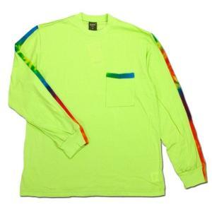 Phatee (ファッティー) TIEDYE LINE L/S TEE ロングスリーブ Tシャツ タイダイ / NEON GREEN|greenplanet