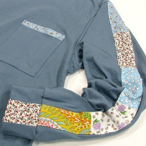 Phatee (ファッティー) FLOWER LINE L/S TEE ロングスリーブ Tシャツ / MICHEL BLUE|greenplanet|03