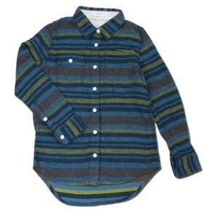 cobano (コバノ) WORK SHIRTS BORDER レディース ヘンプコットン ワークシャツ / BLUE|greenplanet
