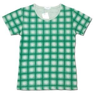 cobano (コバノ) ROCK TEE PRINTED ヘンプコットン レディース 総柄 Tシャツ/ EMERALDO CHECK greenplanet