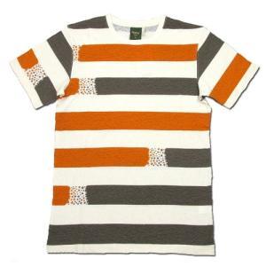 Phatee (ファッティー) ETERNI TEE PRINTED ヘンプコットン ショートスリーブ Tシャツ / STAR BORDER BROWN|greenplanet