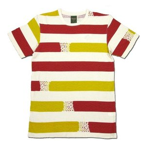 Phatee (ファッティー) ETERNI TEE PRINTED ヘンプコットン ショートスリーブ Tシャツ / STAR BORDER RED|greenplanet