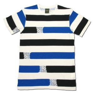Phatee (ファッティー) ETERNI TEE PRINTED ヘンプコットン ショートスリーブ Tシャツ / STAR BORDER BLUE|greenplanet