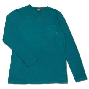 Phatee (ファッティー) L/S POCKET TEE ヘンプコットン ポケット付き ロングスリーブ Tシャツ / TURQUOISE|greenplanet