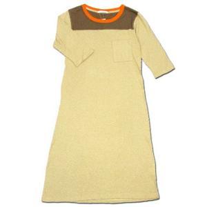 cobano (コバノ) FB TEE OP 2/3 スリーブ フットボール Tシャツ ワンピース / BEIGE|greenplanet