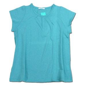 cobano (コバノ) HATA TEE オーガニックコットン ギャザーネック Tシャツ / TURQUOISE|greenplanet