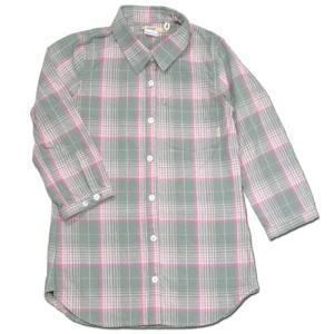 cobano (コバノ) THIN CHECK 2/3 SH レディース チェック柄 7分袖 シャツ / PINK CHECK|greenplanet