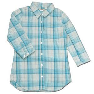 cobano (コバノ) THIN CHECK 2/3 SH レディース チェック柄 7分袖 シャツ / BLUE CHECK|greenplanet