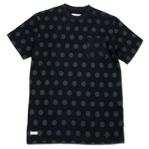 BLACKCAT SURPLUS (ブラックキャットサープラス) POCKETS SHORT SLEEVE : DOT ヘンプオーガニックコットン ポケット Tシャツ / BLACK|greenplanet