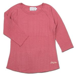 A HOPE HEMP (アホープヘンプ) RAGLAN 3/4 WOMEN'S TEE  ヘンプコットン レディース ラグラン 7分袖 Tシャツ / PINK|greenplanet